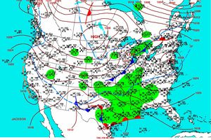 Weather map showing data for temperature, wind, and other atmospheric factors.
