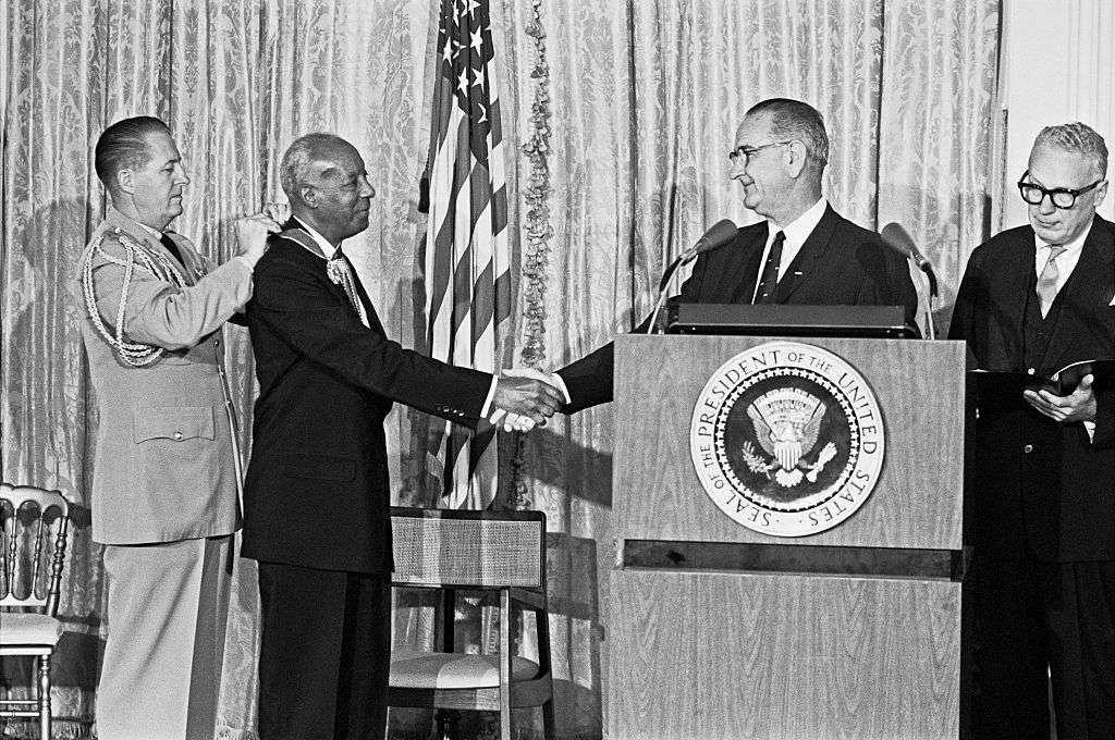 Johnson presents Presidential Medal of Freedom to A. Philip Randolph