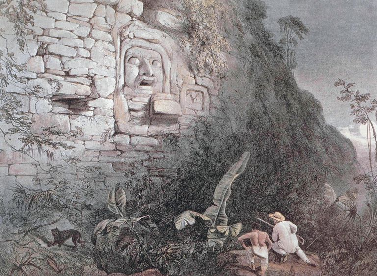 Carved head of Itzamna in Izamal by Frederick Catherwood (1799-1854), engraving is from Incidents of Travel in Central America, Chiapas and Yucatan, by John Lloyd Stephens, 1841. 19th century.