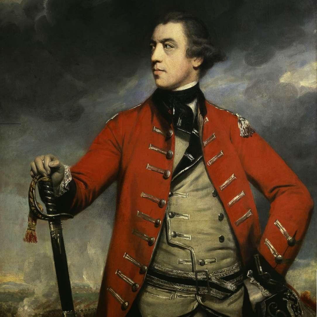 John Burgoyne in a red British Army uniform.