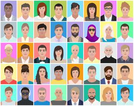 Many portraits of people, colourful background, vector