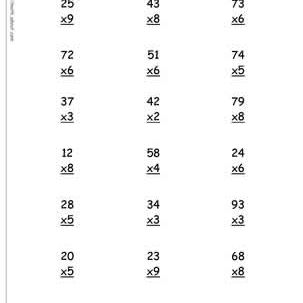 multiplication worksheets 2 and 3 digits timestables 2 and 3 ditit