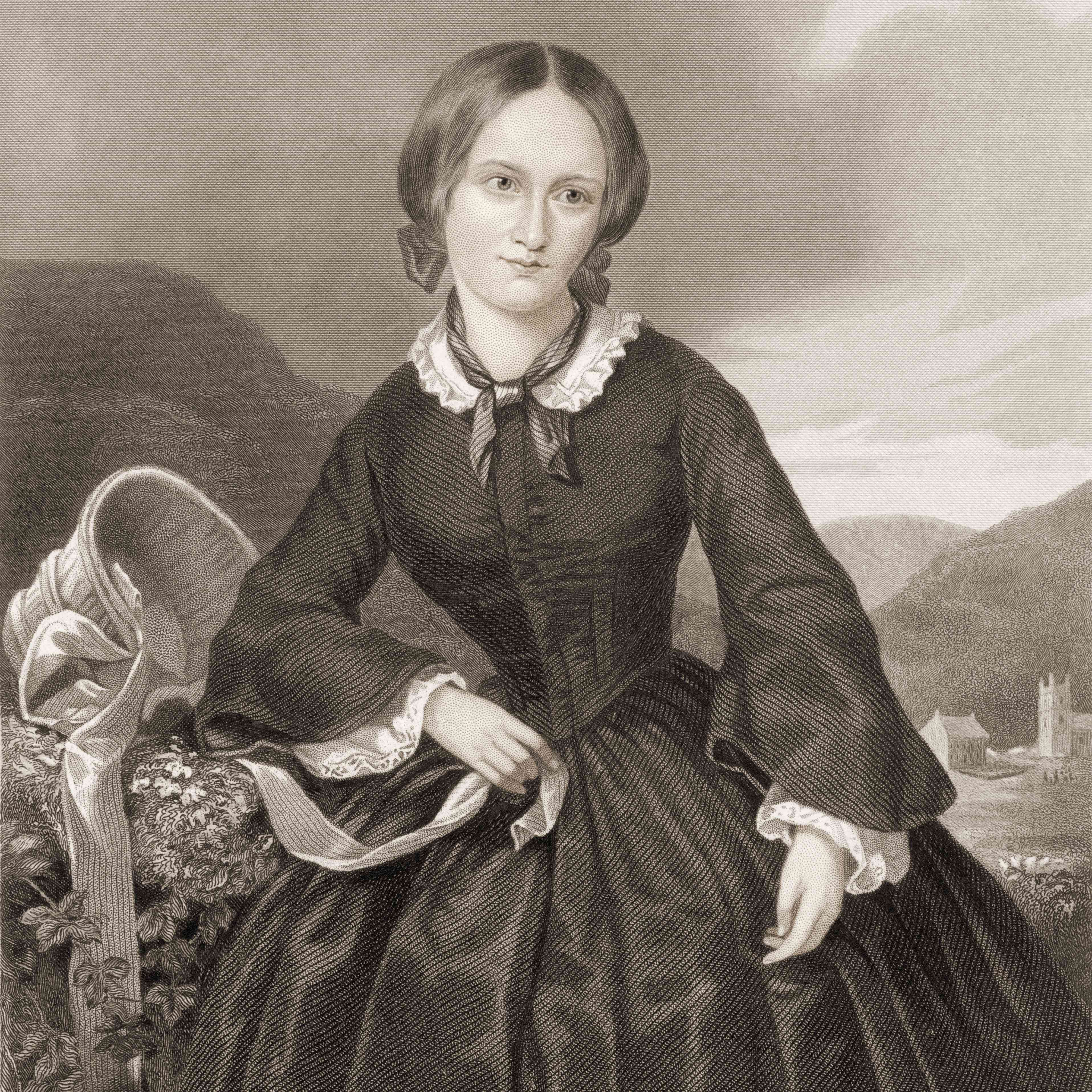 Engraving of Charlotte Bronte in a black dress