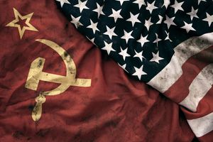 Grungy flags of Soviet Union and USA