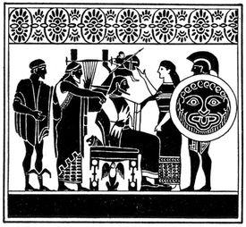 Zeus, Ares, Hermes, Athena, and Apollo