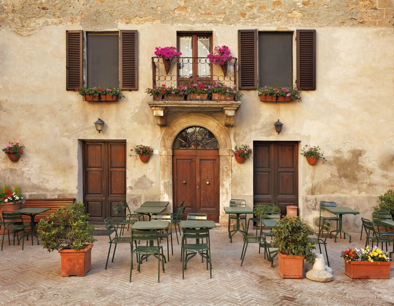 Restaurant tables in Tuscany, Italy