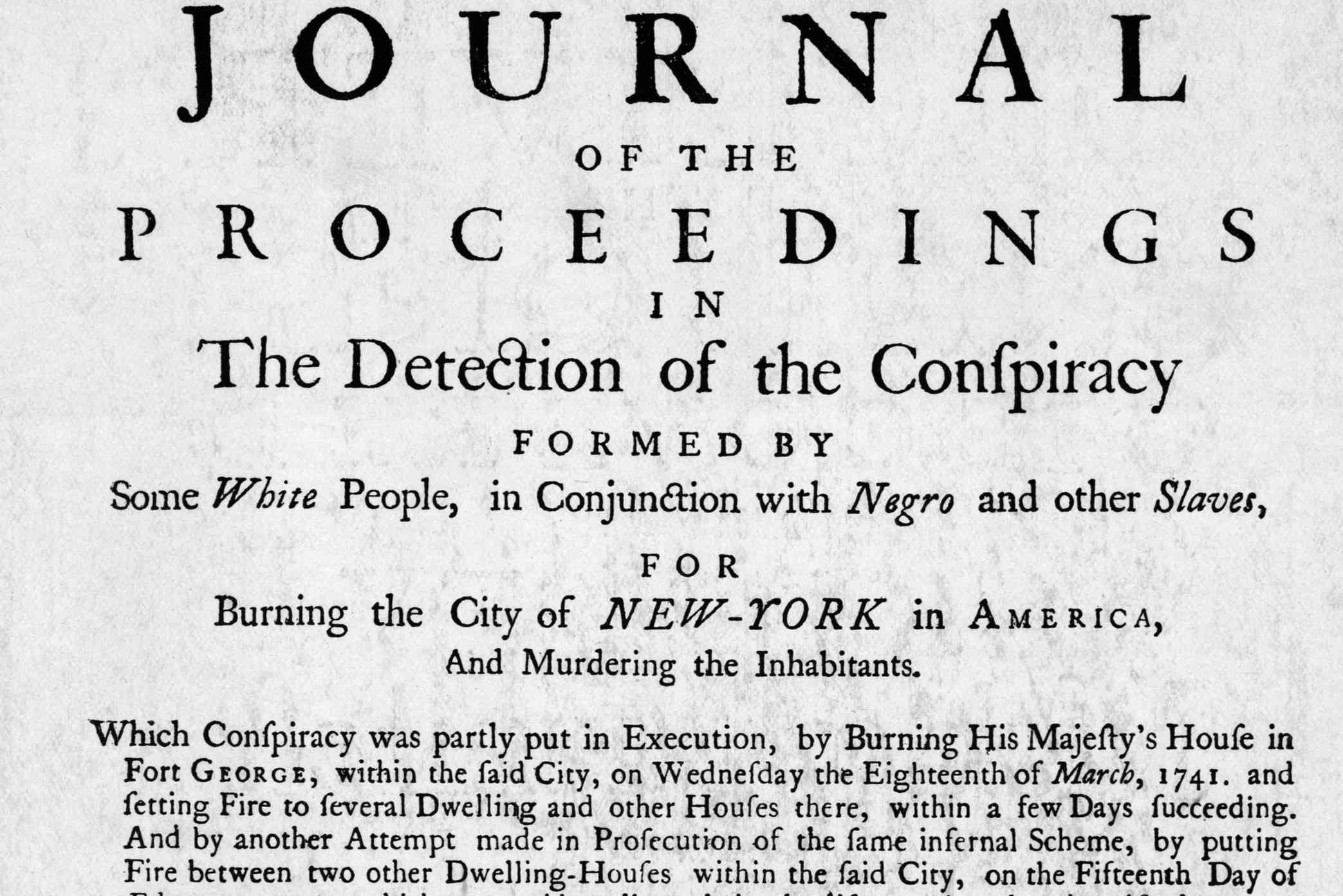 Journal of Proceedings for New York Slave Conspiracy