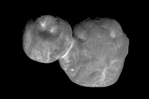 Ultima Thule as seen in one of the first high-resolution images sent back by the New Horizons spacecraft.