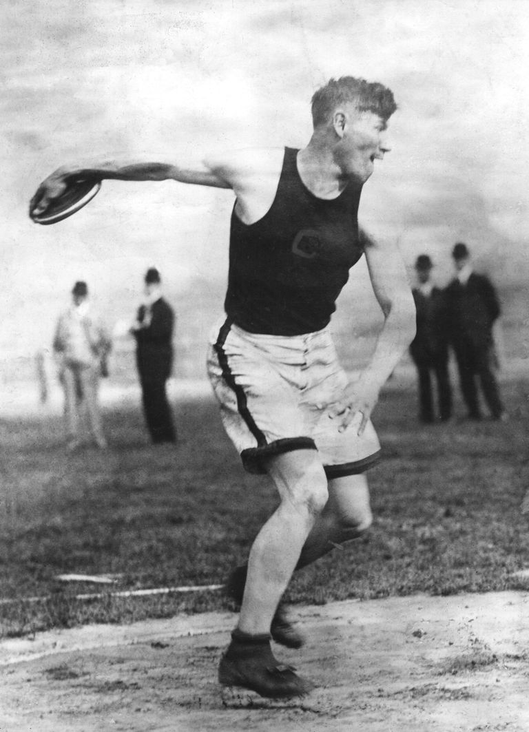 Jim Thorpe competes in the decathlon at the 1912 U.S. Olympic Trials