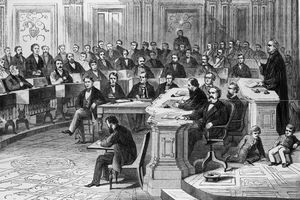 Taking the vote on the impeachment of President Johnson