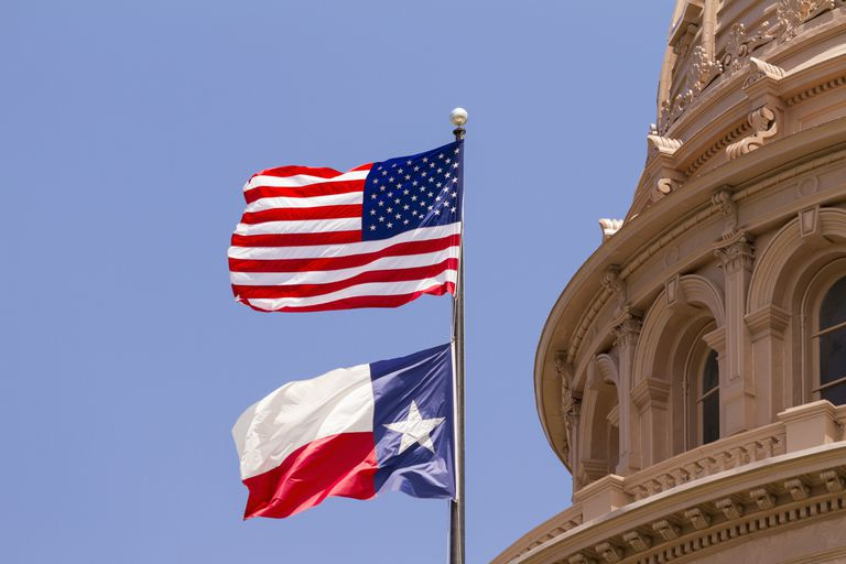 Flags, Texas State Capitol building, Austin