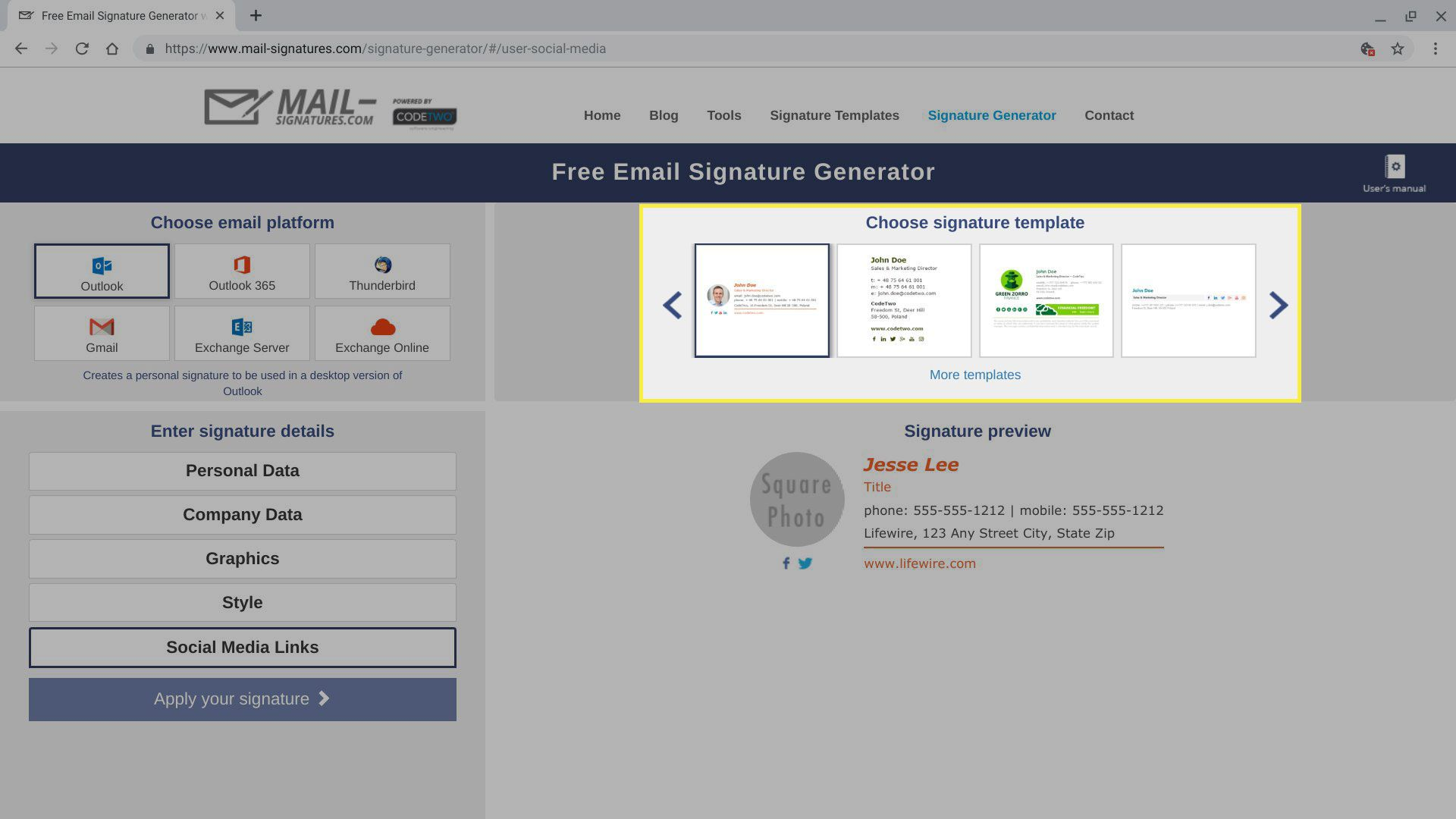 Signature templates