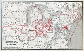 Map showing the Underground Railroad routes.