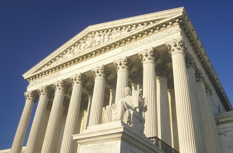 USA, Washington, D.C. United States Supreme Court Building, low angle view
