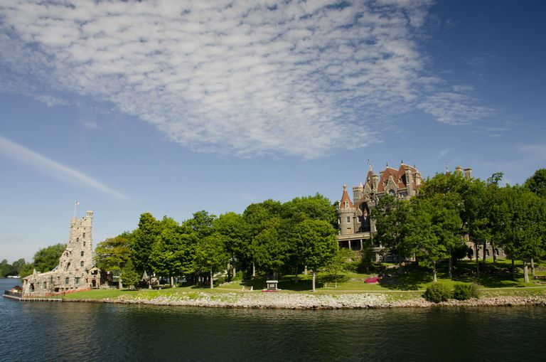 Boldt Castle and buildings on Hart Island, Thousand Islands, St. Lawrence Seaway, New York State