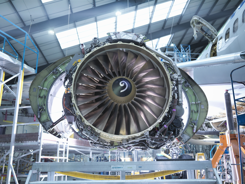Flugzeugdüsentriebwerk in der Flugzeugwartung Fabrik