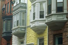 Victorian Row Houses with Oriel Bay Windows