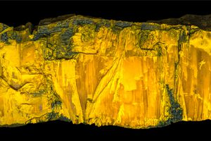 Close up of orpiment made of yellow arsenic