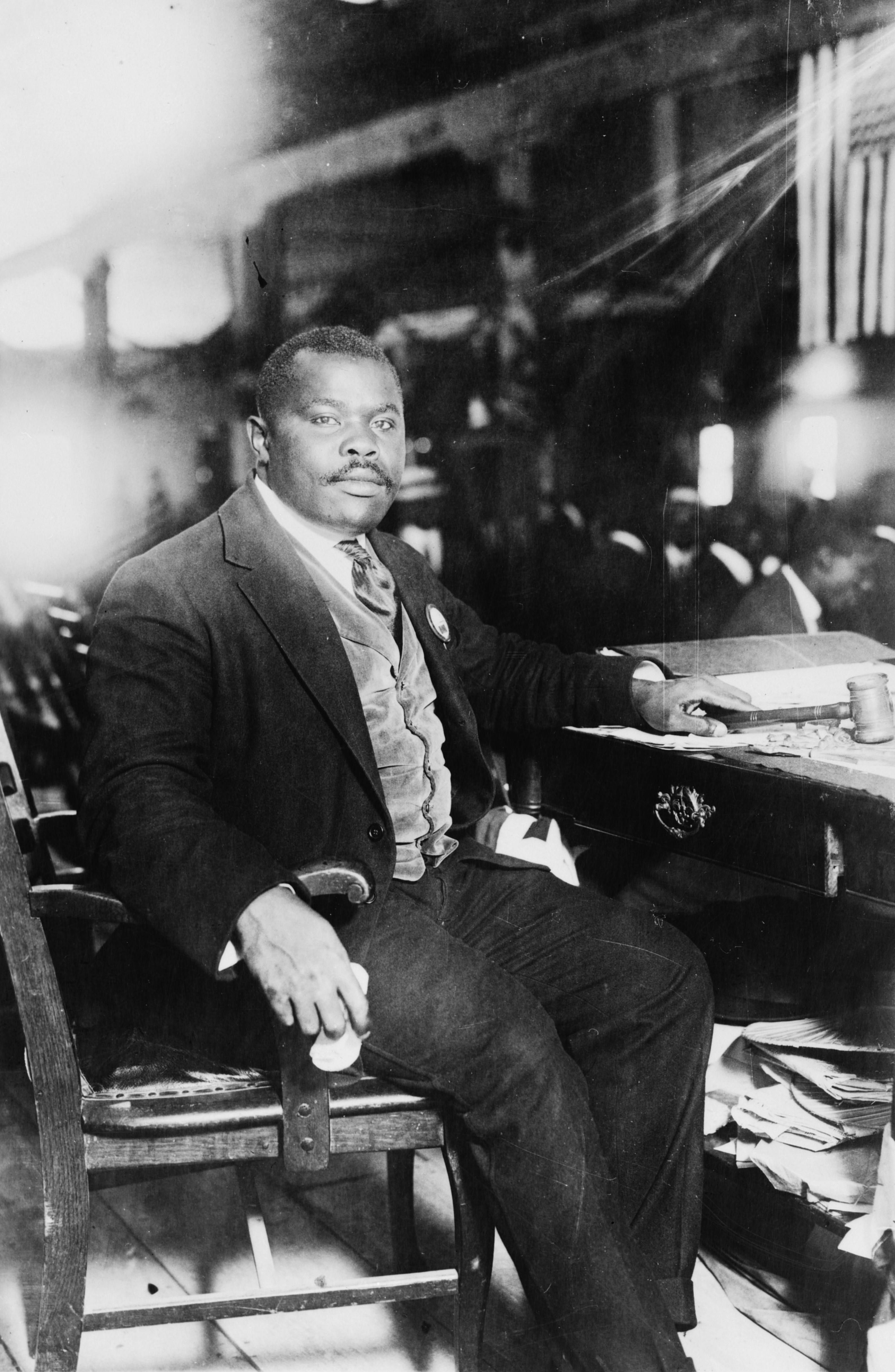 Black and white photograph of Marcus Garvey in 1924.