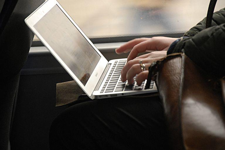 female on internet during travel