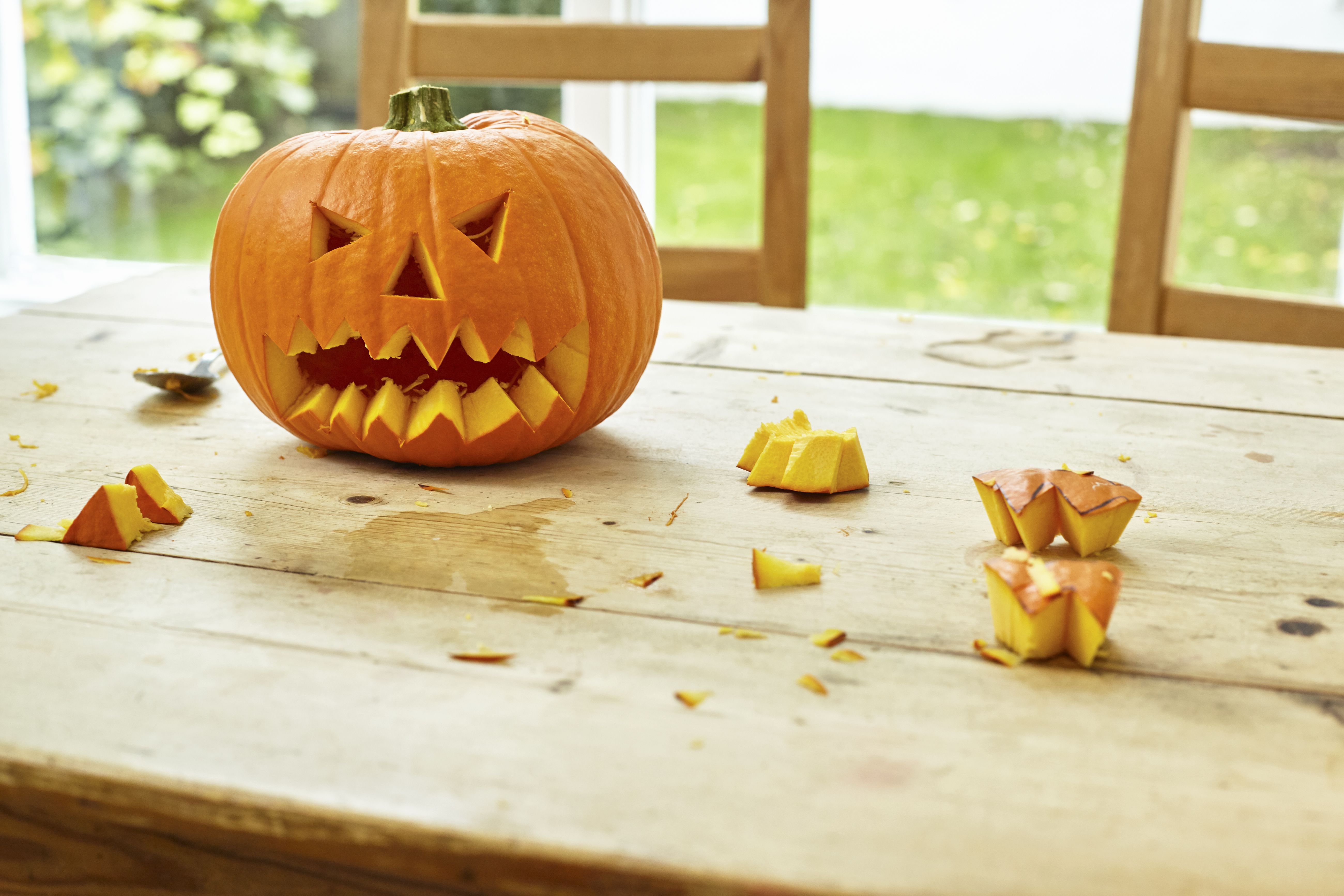 The self-carving pumpkin demonstration involves carving a jack-o-lantern face with chemistry.