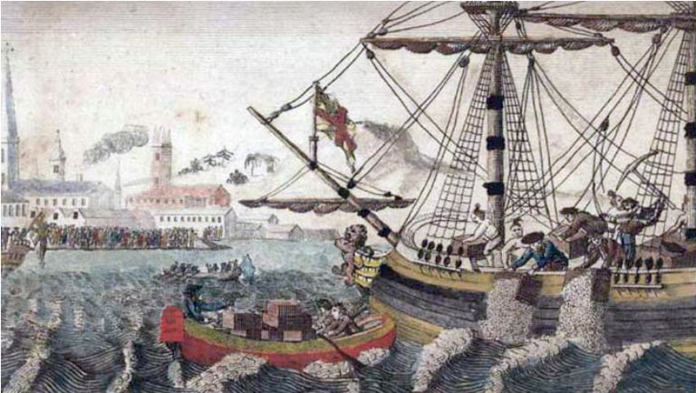 Painting of the Boston Tea Party showing people dumping tea into Boston Harbor.