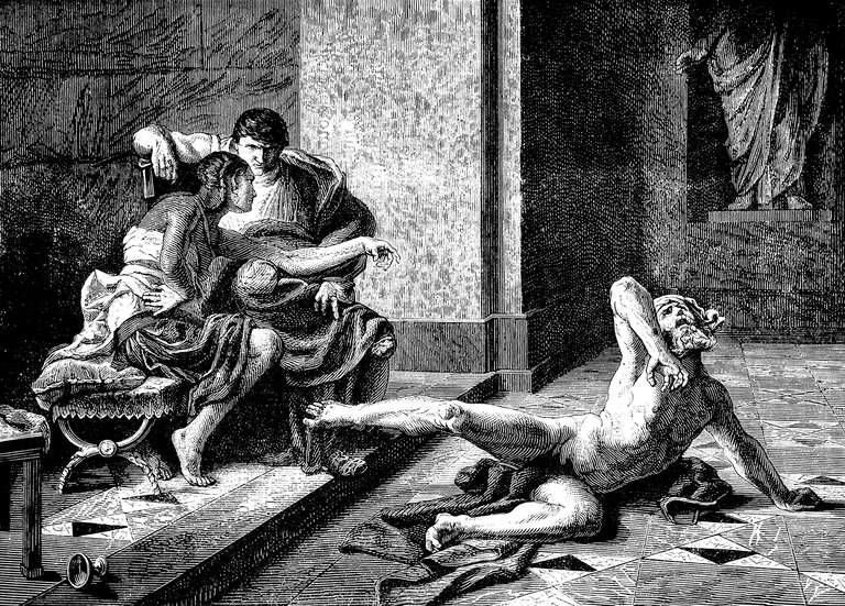 engraving of Locust and Nero