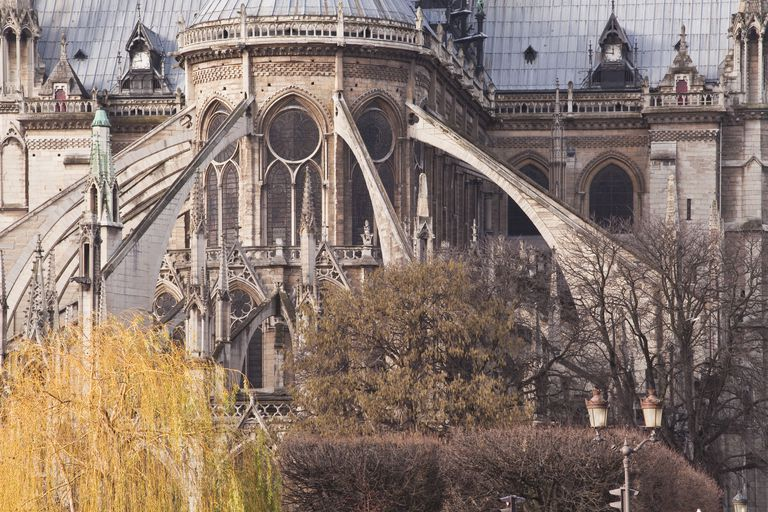 The Flying Buttress Characteristic Of Gothic Architecture On Notre Dame De Paris Cathedral