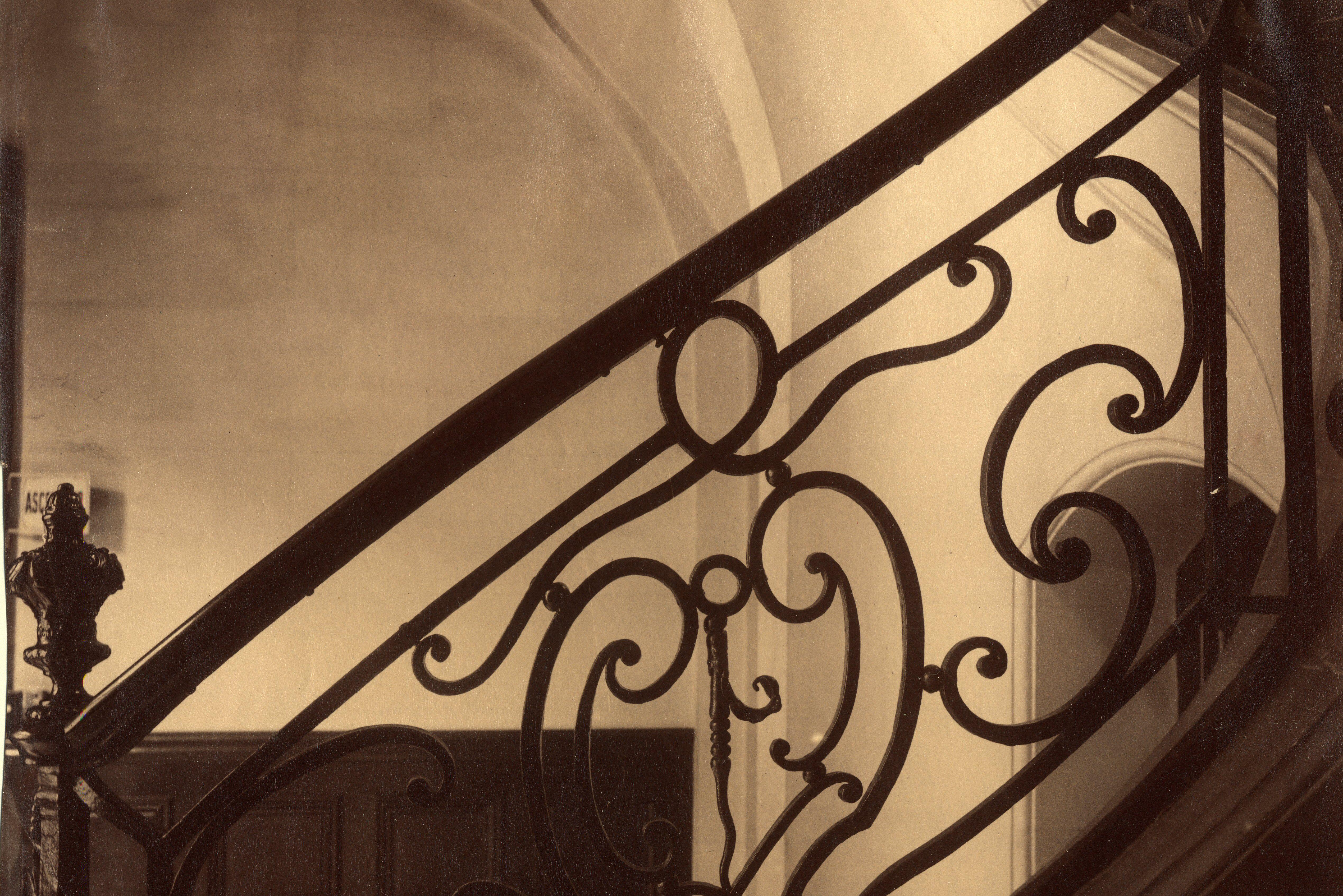 Iron grillwork detail at Hôtel de Bullion (Folie Thoinard de Vougy), 9 rue Coq-Héron. Paris