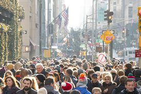 Crowded 5th Avenue in Winter Holiday Season.