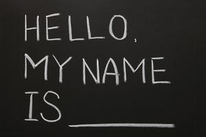 A name tag saying-hello my name is
