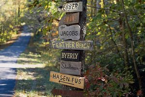 Wooden signs with different last names nailed onto a tree trunk.