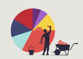 A Construction Worker Building a Bigger Pie Chart Share With Bricks