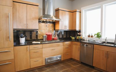 Modern Kitchen With Red Pots On Stove