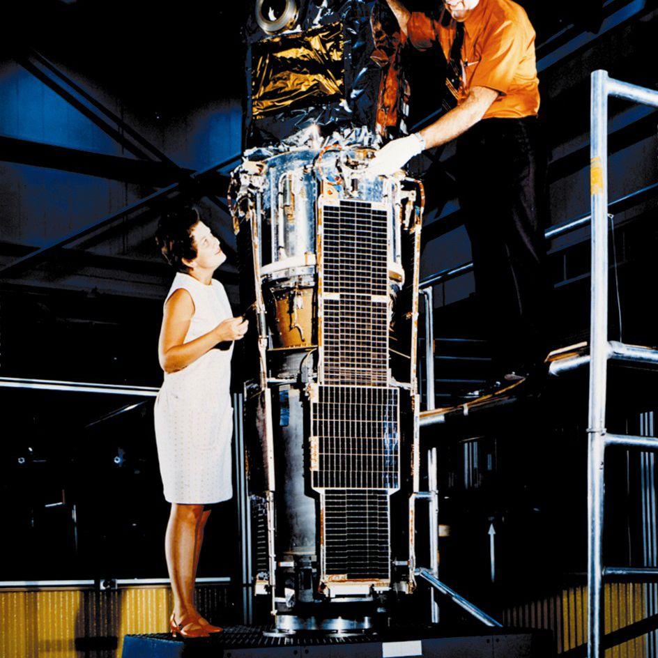 Marjorie Townsend with SAS-1 X-ray Explorer Satellite
