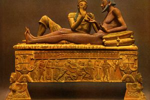 Etruscan Painted Sarcophagus, Caere, Italy: Procession on the Base