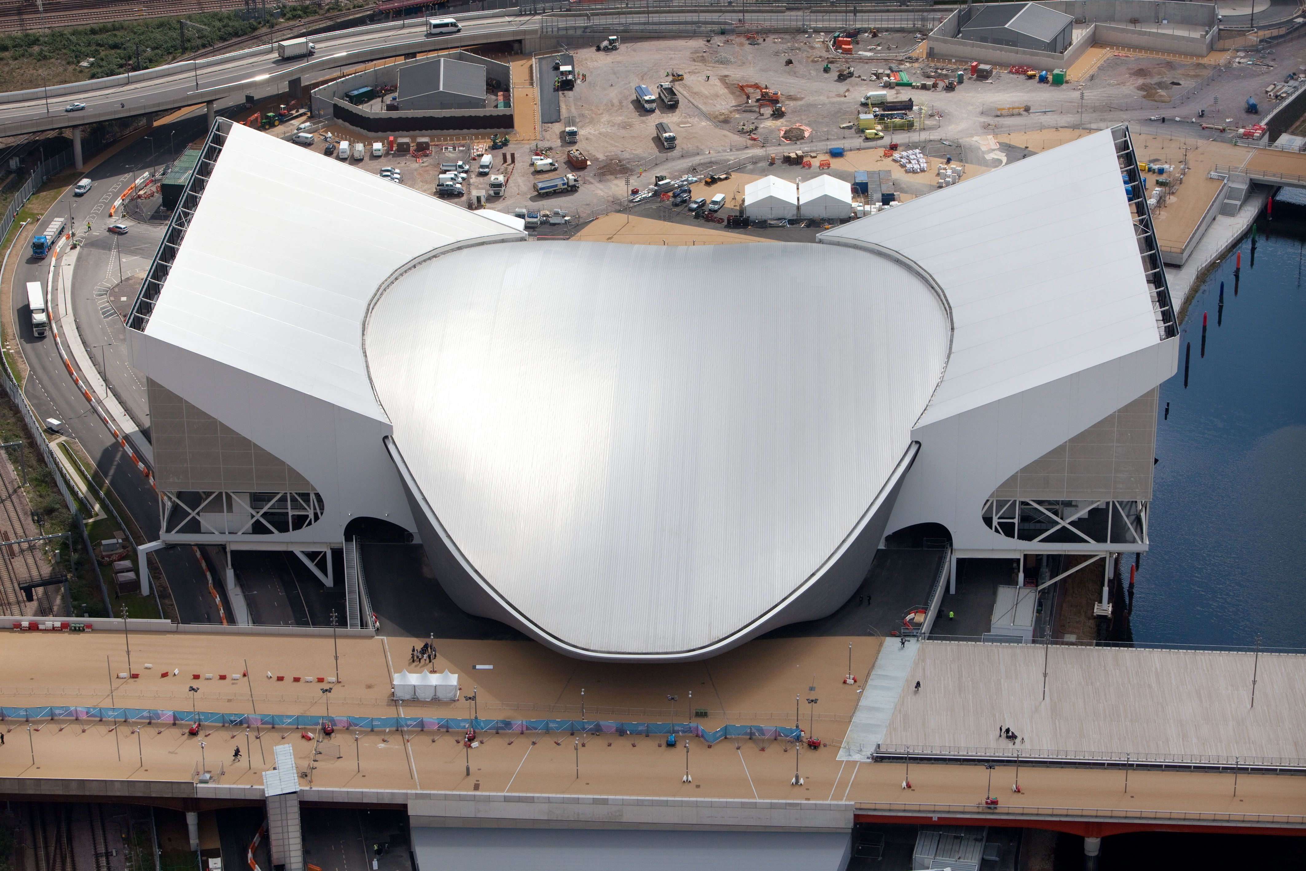 Geometric oval with two wings attached as the Aquatics Centre Designed for the 2012 London