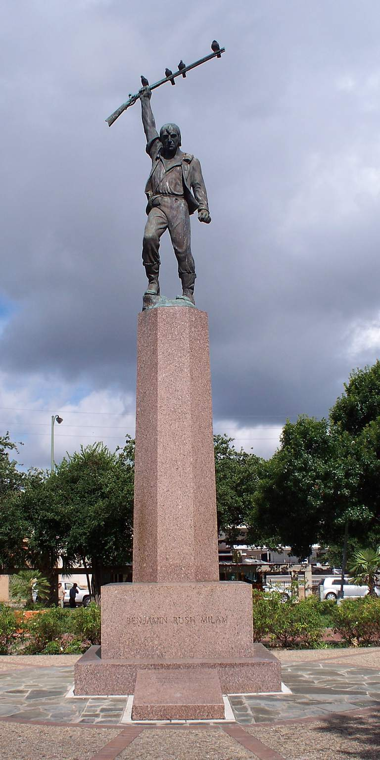 A monument to Benjamin Rush Milam located in San Antonio, Texas