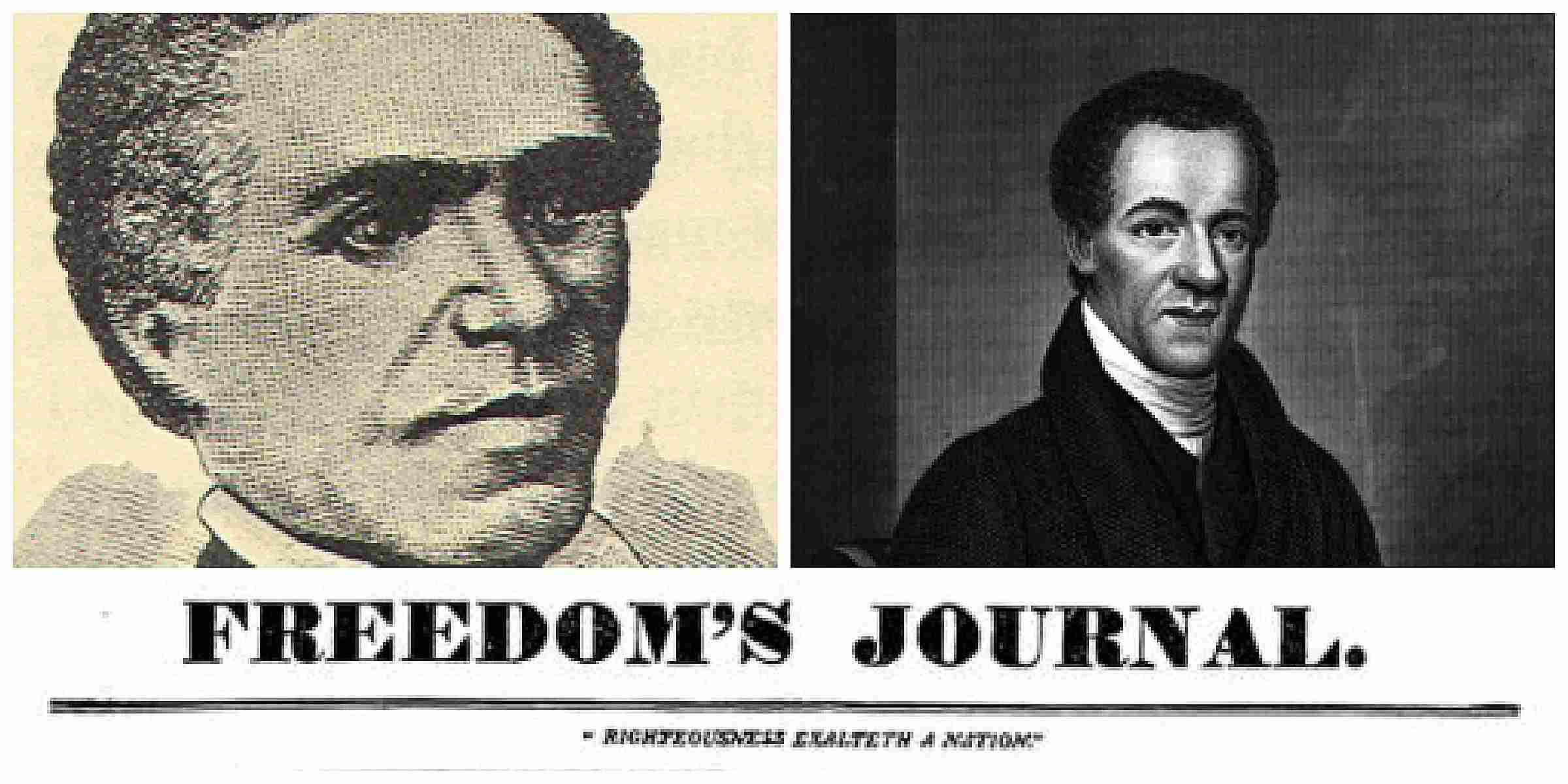 Portraits of John B. Russwurm and Samuel B. Cornish on the cover of a Freedom's Journal