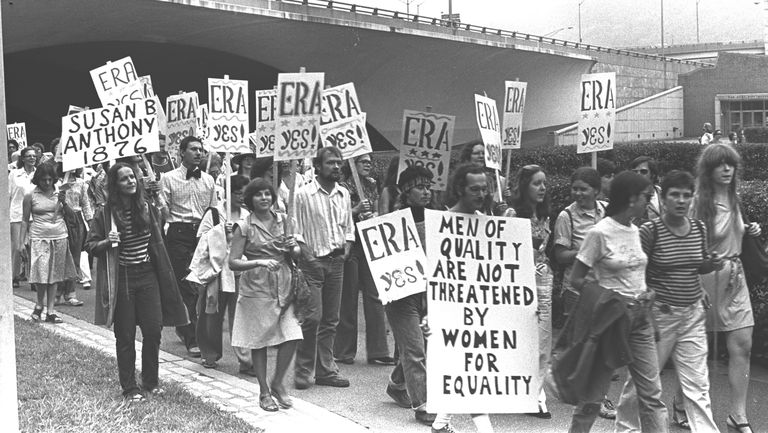 Crowd Marching For ERA Rally