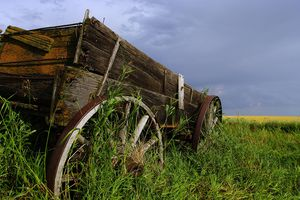 An abandoned wagon marks the site of a former homestead.