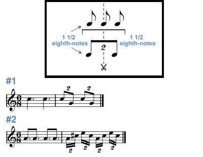 Eighth-note and sixteenth-note duplets.