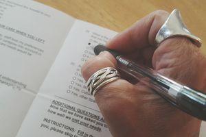 woman filling out questionnaire