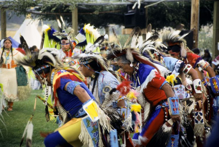 Men Dance at Rocky Boy Pow Wow, Montana