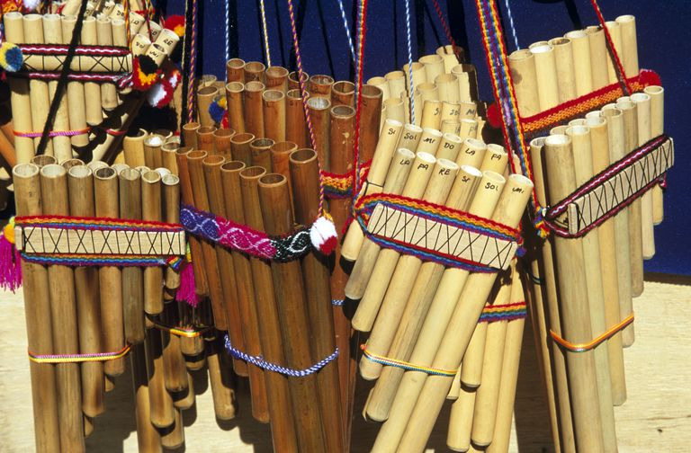 Display of panpipes on stall