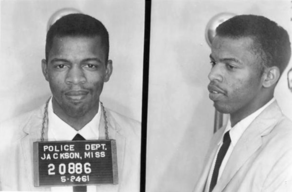 A mug shot of civil rights activist John Lewis, following his arrest in Jackson, Mississippi for using a restroom reserved for 'White' people during the Freedom Ride demonstration against racial segregation, 24th May 1961.