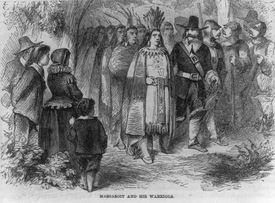 Engraving illustration of Massasoit and his warriors with colonists