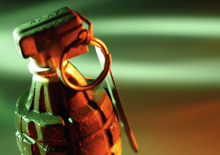 Close up of hand grenade