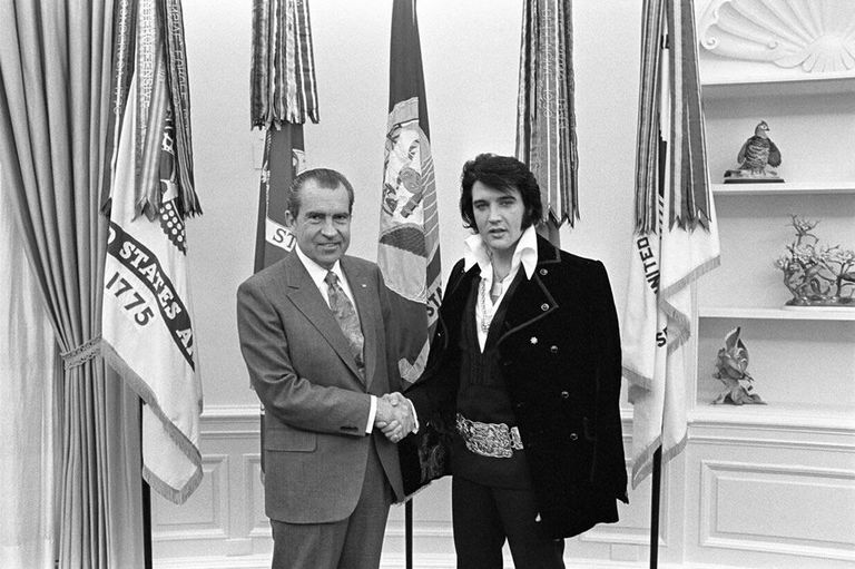 President Richard Nixon and Elvis Presley at the White House.