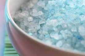 Bath salts are simply colored and scented Epsom salts, easily made at home.